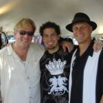 After playing the 2007 Bayfront Blues Festival, Paul and Sonny pose with Texas bluesman, Hamilton Loomis